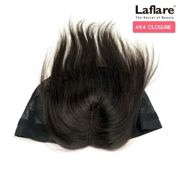 Picture of Laflare Unprocessed 100% Brazilian Virgin Remy Human Hair Lace Part Closure On Cap 4X4 STRAIGHT 12""